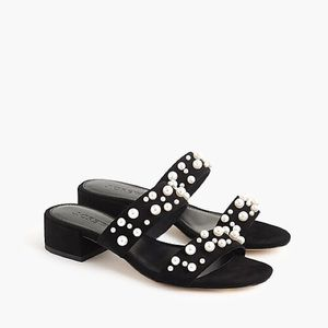 JCrew black suede sandals